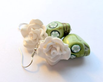 Green and White Day of the Dead Roses and Sugar Skull Earrings