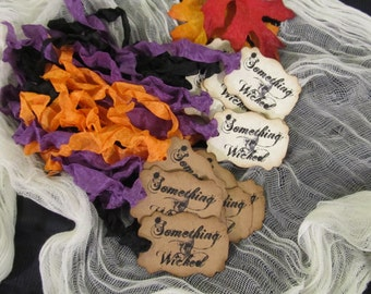 Halloween Favor Tags - Set of 18 READY TO SHIP as shown - Something Wicked Kraft Party Favor Tags - Halloween Party Trick or Treat