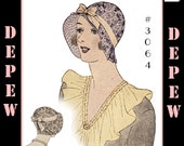 Vintage Sewing Pattern 1920's / 1930's Sports Hat Depew 3064 Digital Print at Home PDF -INSTANT DOWNLOAD-