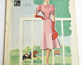 1930's Vintage French Magazine La Mode Pratique August, 1939 WWII Fashion & Sewing Pattern