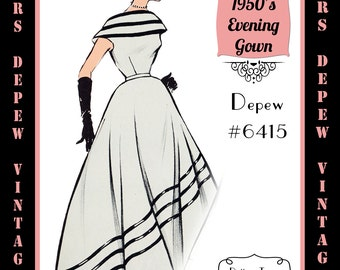 Vintage Sewing Pattern 1950's Sleeveless Evening Gown in Any Size - PLUS Size Included - Depew 6415-INSTANT DOWNLOAD-