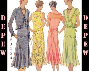 Vintage Sewing Pattern Reproduction Ladies' 1930's Dress & Bolero #3054 - INSTANT DOWNLOAD