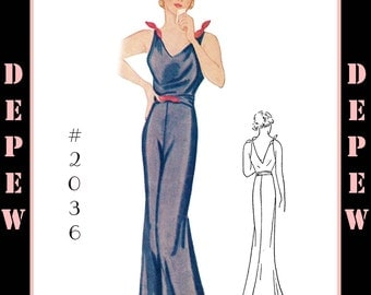 Vintage Sewing Pattern Reproduction 1930's Evening or Lounge Pajama #2036 - INSTANT DOWNLOAD