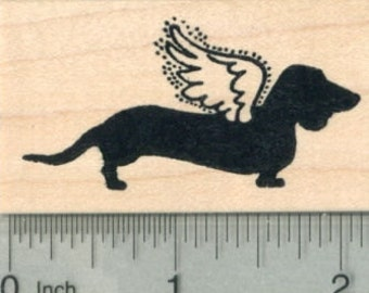 Dachshund Angel Rubber Stamp, Pet Loss Silhouette Series, Dog G29815 Wood Mounted