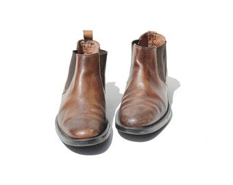 Vintage Men's Brown Leather Chelsea Ankle Boots / size 9.5