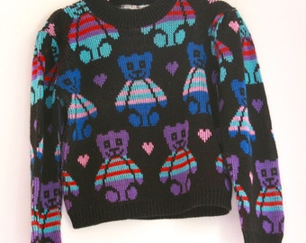 Vintage girls novelty sweater eighties teddy bears 4t 5t