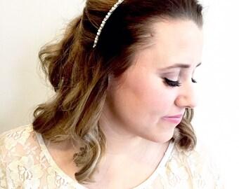 Thin Bridal Headband, Pearl Headband, Wedding Head Band, Pearl and Rhinestone Bridal Hair Comb, Skinny Headband for Wedding, accessories