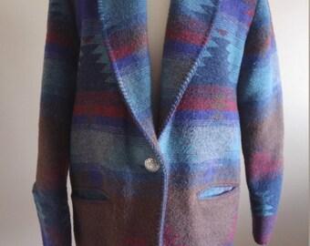Tri Color Southwestern Oversized Blazer Jacket