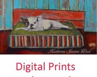 Grumpy French Bulldog Painting Print. Animal Portrait Art Print. Living Room Art Print. Dog Lover Art Gift