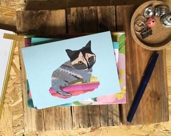 Kitty on pretty rug card cc145  SALE +++++