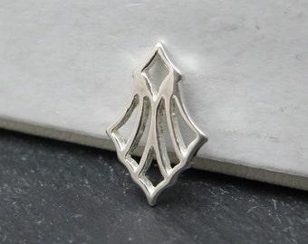 Sterling Silver Art Deco Fan Charm 12mm (CG8306)