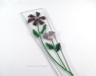 Flower Plant Stake Garden Art Purple Glass Flowers
