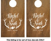Wedding Cornhole Decal | Wedding Game | Cornhole Board Decals | Personalized Corn Hole Decal | Rustic Wedding Decor