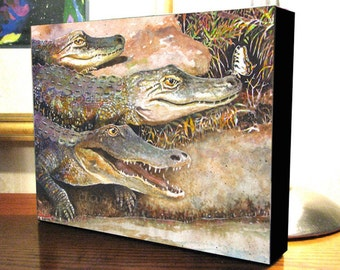 """Alligators and Butterfly Art 8x10x1.5"""" and 11x14x1.5"""" Gallery Wrap Canvas Print Signed and Numbered"""