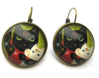 Cat Earrings Lever Back Glass Dome Earrings -  Exotic Mother Cat with Kitten B