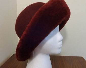 Vintage, Cranberry Colored, Wool Hat with Faux Fur Trim