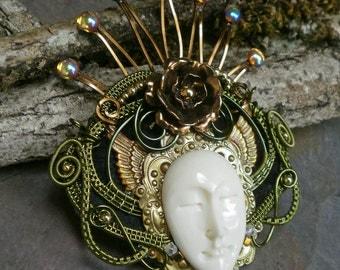 Gothic Steampunk Green Queen Pin Pendant Brooch Part 2