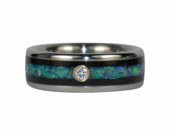 Diamond Wedding Band with Blue Opal and Black Wood