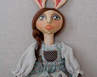 Sweet Handmade Bunny Rabbit Girl with Pantaloons and Blue Berry Dress - Handmade Anthropomorphic OOAK Folk Art Doll - Spring Easter