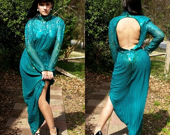 1980s Vintage Green Sequin Formal Dress Prom Dress High Slit Sexy Open Back High Collar Green Beaded Maxi Pin Up Size Large