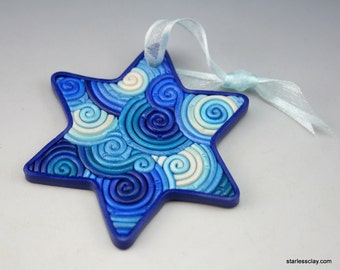 Star of David Ornament in Blue, Teal, White Polymer Clay