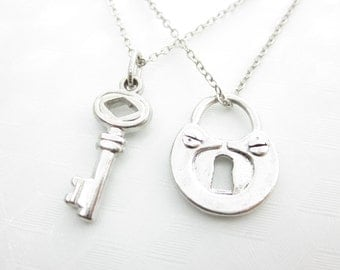 Set of Lock and Key Necklaces, Two Best Friend Necklaces, Pair of His and Hers Couple Necklaces, X046