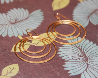 Gold Triple Hoop Earrings with 14K Ear Wires