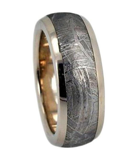 Man Muonionalusta Meteorite Wedding Band, 14k White Gold Ring, Unique Meteorite Jewelry