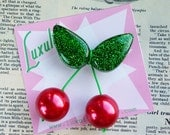 Jumbo oversized handmade sparkly green confetti lucite style 1940's 50's inspired red cherry brooch