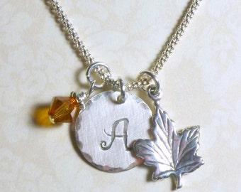 Maple Leaf Necklace, Personalized Fall Maple Leaf Hand Stamped Sterling Silver Initial Charm Necklace, Autumn Jewelry