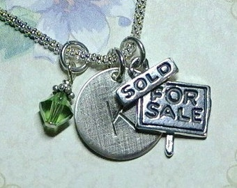 Realtor Gift - Realtor Hand Stamped Sterling Silver Initial Charm Necklace - For Sale Sold - Realtor Necklace - Realtor Jewelry