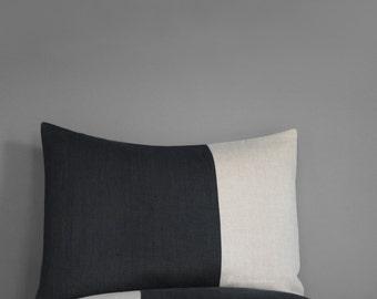 Two Tone Colorblock Pillow Sham, Color Block Bedding, Black Linen, Modern Linen Bedding by JillianReneDecor - Bedroom - Custom