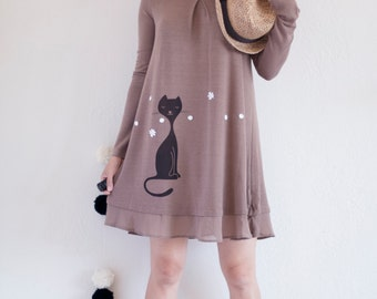 Long Sleeve Layered Tunic with Fabric Flower Appliques in Mocha - Sniffing Kitty
