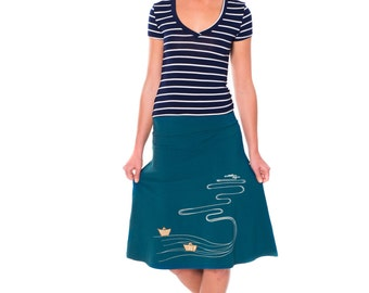 Whimsical skirts, Womens cute skirt, Women Midi Skirt, Knee Length Teal Blue A-line Soft Jersey Skirt - The creek and the paper boats