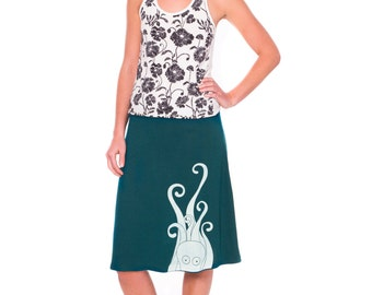 Plus size cotton skirt, Knee length A-line skirt, Unique graphic skirt, Stretchy waist band skirt, Teal blue cotton jersey skirt- Octopus
