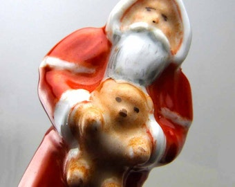 1960s Limoges Porcelain Trinket Box Peint Main D. Moreau Santa Claus Holding Teddy Bear Stag Reindeer Santa Claus Kris Kringle St Nick