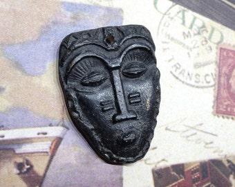 41. Wondrousstrange Design Tribal Mask Black Ebony Look Waxed  Porcelain Pendant