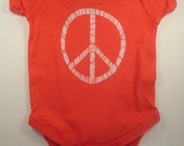 6M Ready to Ship Watermelon Peace Sign One Piece, Batik Peace Symbol, Peace Sign Item, Peace Symbol Gift, Batik Creations