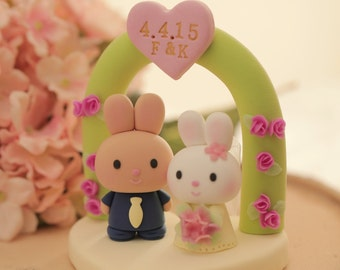 rabbit and bunny with arch Wedding Cake Topper---k959