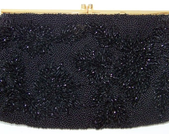 Vintage Jet Black Bead Purse Mother of Pearl Inlay Clasp Hollywood Glam Made in Hong Kong