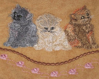 Three Kittens Potholders, machine embroidered