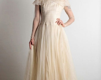 ON SALE 1940s Tulle Wedding Dress with Train & Illusion Neckline