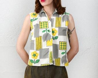 SALE- Flower Print Shirt , Vintage Button Down Tank Top