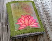Pink Lotus journal - green waxed canvas cover