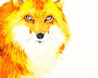 Fiery Fox Art Print Gouache/ Watercolor, wildlife painting, woodland animal illustration, fox portrait, fox painting, fox decor, fox nursery