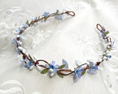 blue flower crown, blue headband, blue flower girl, blue hair flower, bridal flower crown, bridal hair vine, bridal headpiece, forget me not