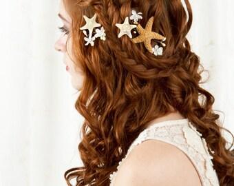 starfish hair accessories, starfish hair clip, seashell hair clip, bridal hairpiece, beach wedding, starfish hair piece, seashell headpiece
