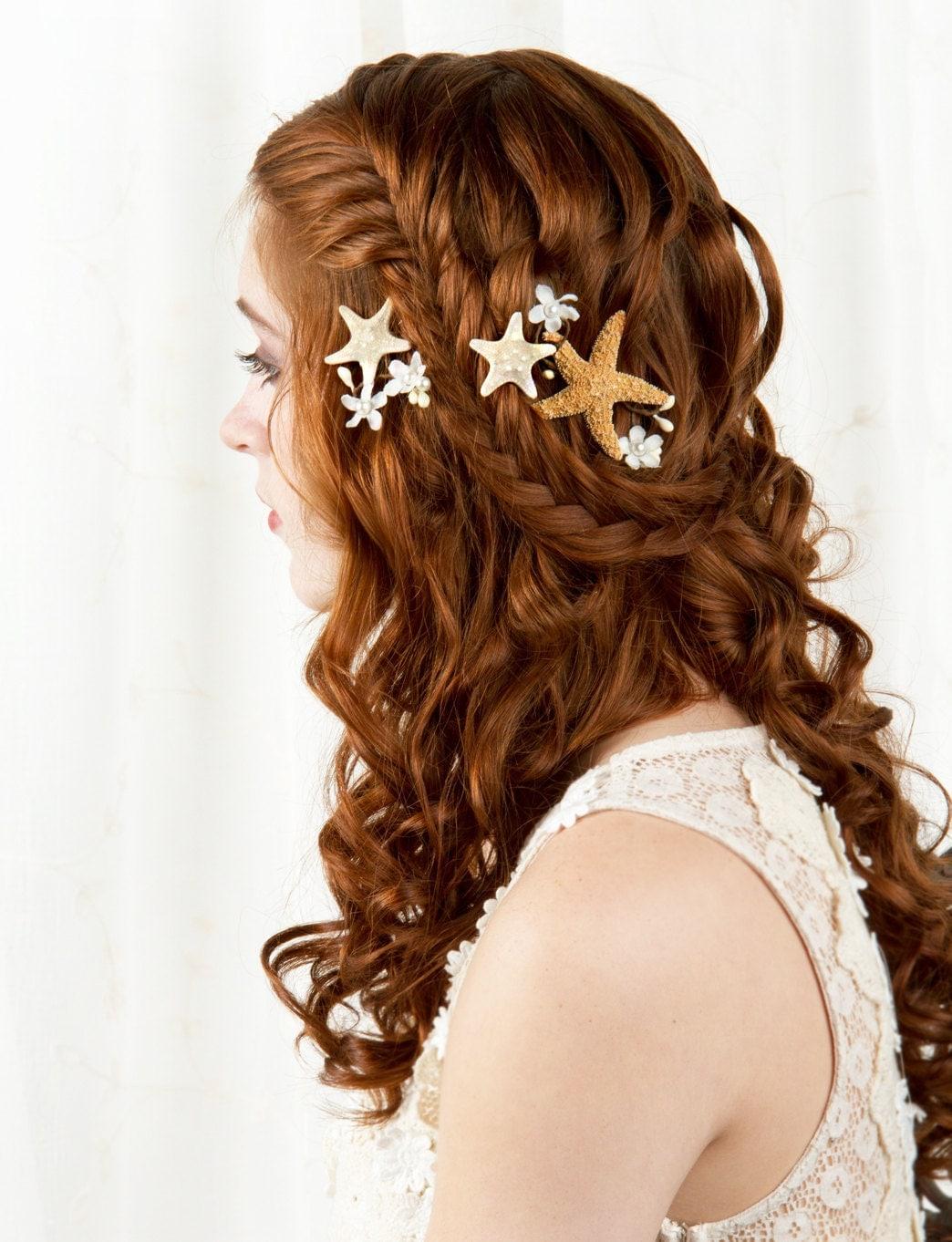 Starfish hair accessories starfish hair clip seashell hair for Seashells for hair