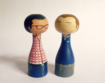 Personalized same sex couple custom gay couple portrait - Cake Topper - FREE SHIPPING - Wooden art doll hand painted Asian man glasses blue