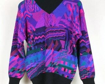 Vintage Blue Green Black Purple Ski Sweater  Misses M Meister 80s